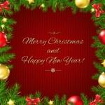Christmas Fir Tree Border Card — Stock Vector #60455011