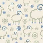 Winter pattern with snowflakes and rams — Stock Vector