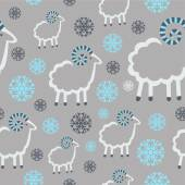 Winter pattern with sheep and snowflakes on a gray background — Stock Vector