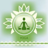 Yoga lotus flower emblem green background meditation posture dec — Vetorial Stock