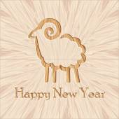 Wooden ram new year figure carved wood background  — Stock Vector