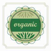 Emblem organic product natural green in the circle — Stock Vector