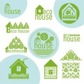 Set of eco houses natural materials green design — Stock Vector