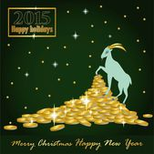 Goat Christmas on the mountain of gold coins and a card with the — Stock Vector
