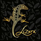 Golden lizard on a black decorative background design — Stock Vector
