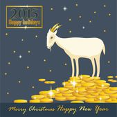 Goat on a mountain of coins with golden horns holiday card — Stock Vector