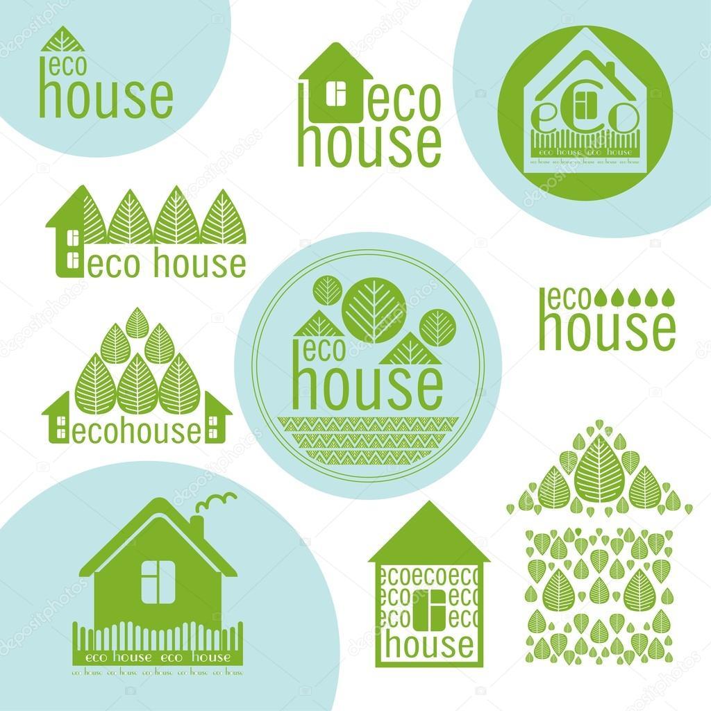conjunto de eco casas de diseo de materiales naturales verde u ilustracin de stock