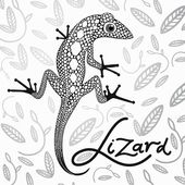 Lace lizard in the background with decorative leaves — Stock Vector
