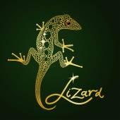 Gold openwork decorative lizard on a dark green background — Stock Vector