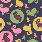 Owce w kręgach i drzewa wzór Boże Narodzenie — Wektor stockowy
