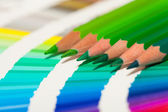 Green colored pencils — Stock Photo