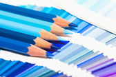 Blue colored pencils — Stock Photo