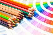Colored pencils and color chart — Stock Photo