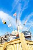 Fishing floats and flag — Stock Photo