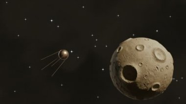 Sputnik flying in space near a large asteroid — Stock Video