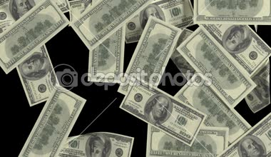 Dollar bills sticking to the screen. Black-and-white mask. Isolated on white and black background. animations in full HD. — Stock Video