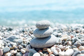 Three stones on stack near sea. zen like concept — Stock Photo