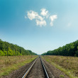 Light clouds in blue sky over railroad to horizon — Stock Photo #63473895