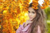 Fashion trendy beauty girl autumn portrait. Brunette woman over  — Stock Photo
