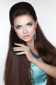 Beauty fashion brunette woman. Long hair styling. Beautiful woma — Zdjęcie stockowe