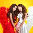 Beautiful Brunette Angel girls with angel's wings. Fashion women — Stock Photo #55522877