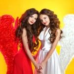 Beautiful Brunette Angel girls with angel's wings. Fashion women — Stock Photo #55522877