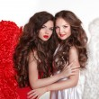 Beautiful Angel girl with angel's wings. Fashion women with long — Stock Photo #55522883