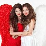 Beautiful smiling Angel girls with angel's wings. Fashion women  — Stock Photo #55522947