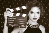 Retro casting tests, woman holding cinema clap. Super star model — Stock Photo