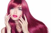 Long wavy shine hair. Attractive girl with manicure nails and be — Stock Photo