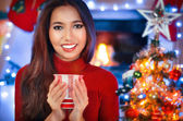 Christmas, x-mas, winter, happiness concept. Attractive smiling — Stock Photo