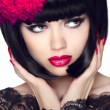 Fashion Glamour Beauty Model Girl with Makeup and bob short Hair — Stock Photo #64699937