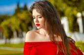 Beautiful young girl Outdoor portrait. Attractive Woman with red — Stock Photo