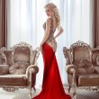 Elegant lady. Beautiful blond woman model in fashion dress with — Stock Photo #72573659