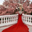 Fashion elegant blond woman model in red gown with long train of — Stock Photo #72573669