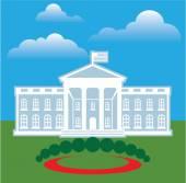 Casa blanca azul cielo — Vector de stock