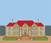 Mansion Front yard vector — Stok Vektör