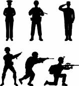 Soldier silhouette — Vector de stock