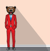 Bear head man vector illustration — Vecteur