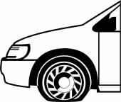 Flat tire black n white vector — Stock Vector