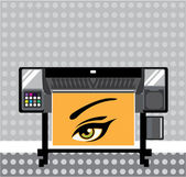 Large Format Printer — Stock Vector