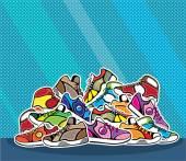 Pile of shoes vector pop art — Stock Vector
