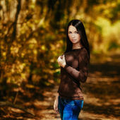 Early fall. Brunette portrait — Stock Photo