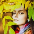 Brunette in yellow leaves — Stock Photo #54517701