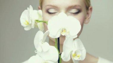 White lips girl — Vídeo stock