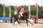RIGA, LATVIA - AUGUST 12: Latvian rider Ingrida Lizbovska show — Stock Photo