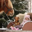 Cute little girl sitting in the sledges with puppy and big palom — Stock Photo #60039145