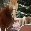 Cute little girl sitting in the sledges and big palomino draught — Stock Photo #60039193