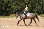 Beautiful woman riding gray horse — Fotografia Stock