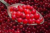 Red currant in a spoon. — Stock Photo